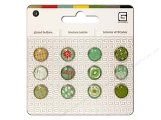 BasicGrey Buttons Glazed 13mm Seaspray 12pc