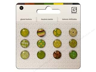 BasicGrey Glazed Buttons 1/2 in. Buttercup 12 pc.