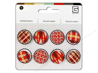 Buttons Novelty Buttons: BasicGrey Stitched Buttons 11/16 in. Crimson 8 pc.