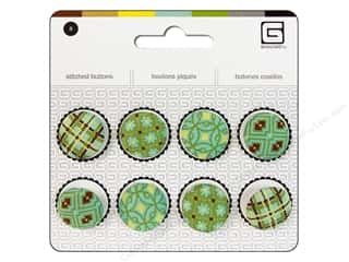 Buttons Novelty Buttons: BasicGrey Stitched Buttons 11/16 in. Seaspray 8 pc.