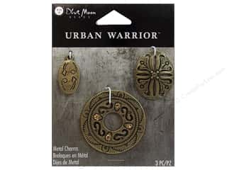Blue Moon Beads Charms and Pendants: Blue Moon Beads Metal Charms Ancient Design 3 pc. Oxidized Brass