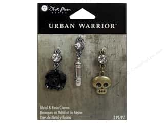 Blue Moon Beads Metal & Resin Charms 3pc Rose/Skull/Bullet