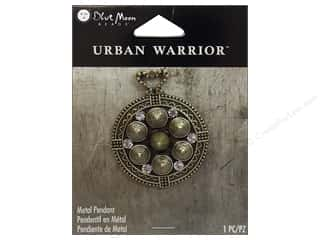 Blue Moon Beads Cream/Natural: Blue Moon Beads Metal Pendant Urban Warrior Oxidized Brass Round with Spikes