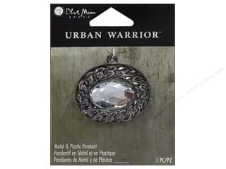 Charms and Pendants Black: Blue Moon Metal & Plastic Pendants Urban Warrior Black Nickel Oval with Clear Gem