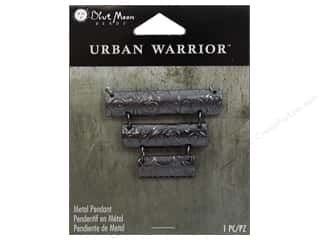 Blue Moon Beads Books & Patterns: Blue Moon Beads Metal Pendant Urban Warrior Black Nickel Rectangles Focal