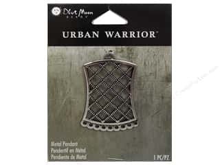 Blue Moon Beads Cream/Natural: Blue Moon Beads Metal Pendant Urban Warrior Antique Silver Rectangle Net Focal