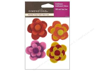 Felting Brown: Dimensions 100% Wool Felt Embellishment Flowers Warm