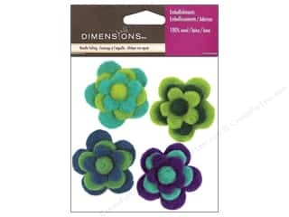 Flowers / Blossoms Wool Felting Supplies: Dimensions 100% Wool Felt Embellishment Flowers Cool