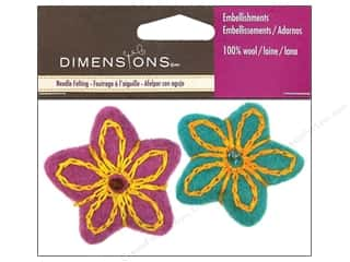 Fabric Stars: Dimensions 100% Wool Felt Embellishment Stars Embroidered