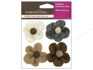 Dimensions 100% Wool Felt Embl Flowers Earth (3 set)