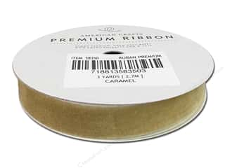 Threads Clearance Crafts: American Crafts Velvet Ribbon 1/2 in. x 3 yd. Caramel