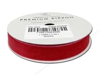 Ribbons 2 Yards: American Crafts Velvet Ribbon 1/2 in. x 3 yd. Rouge