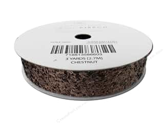 American Crafts Large Glitter Ribbon 5/8 in. x 3 yd. Solid Chestnut
