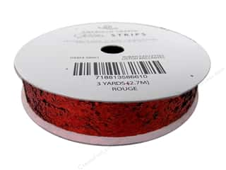 "American Crafts Ribbon Glitter Large 5/8"" Solid Rouge 3yd"