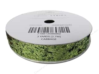 "American Crafts Ribbon Glitter Large 5/8"" Solid Cabbage 3yd"
