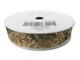 "American Crafts Ribbon Glitter Large 5/8"" Solid Gold 3yd"
