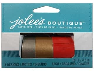 EK Jolee's Boutique Embl Paper Tape St Rd&Gld 3pc