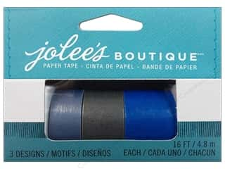 Glues, Adhesives & Tapes Blue: EK Jolee's Boutique Embellishment Paper Tape Set Blue & Silver 3pc