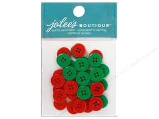 EK Jolee's Boutique Embl Button Assortment Rd&Grn