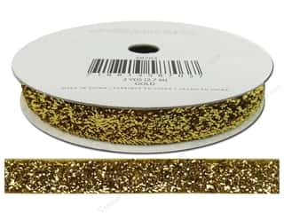 Ribbons Metallic Ribbon: American Crafts Tinsel Ribbon 3/8 in. x 3 yd. Solid Gold