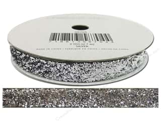 Ribbons Metallic Ribbon: American Crafts Tinsel Ribbon 3/8 in. x 3 yd. Solid Silver