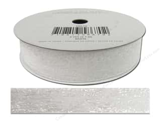 American Crafts Tinsel Ribbon 5/8 in. Solid White