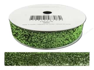 American Crafts Tinsel Ribbon 5/8 in. Solid Grass