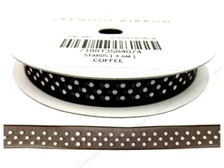 "American Crafts Ribbon Sheer Dots 3/8"" Coffee"