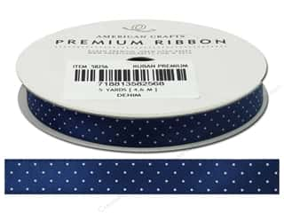 Polyester Ribbon / Synthetic Blend Ribbon: American Crafts Ribbon Satin Dots 3/8&quot; Denim 5yd