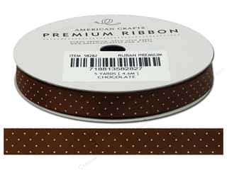 "American Crafts Ribbon Satin Dots 3/8"" Chocolate"