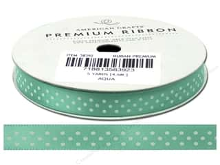 American Crafts Ribbon Satin Dots 3/8&quot; Aqua 5yd