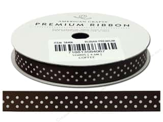 American Crafts Ribbon Satin Dots 3/8&quot; Coffee 5yd