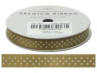 "American Crafts Ribbon Satin Dots 3/8"" Brown Sugar"