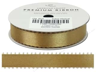 Polyester Ribbon / Synthetic Blend Ribbon: American Crafts Satin Ribbon Picot 5/8 in. Brown Sugar