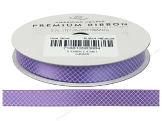 "American Crafts Ribbon Satin Plaid 3/8"" Grape 5yd"