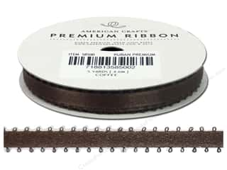 American Crafts Ribbon Satin Picot 3/8&quot; Coffee 5yd
