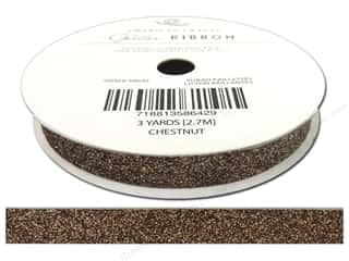 "American Crafts Ribbon Glitter 3/8"" Solid Chestnut 3yd"
