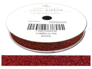 Ribbons Metallic Ribbon: American Crafts Glitter Ribbon 3/8 in. x 3 yd. Solid Rouge