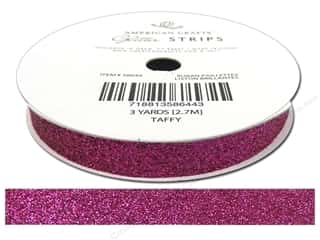 "American Crafts Ribbon Glitter 3/8"" Solid Taffy 3yd"