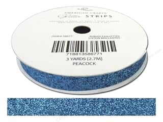 "American Crafts Ribbon Glitter 3/8"" Solid Peacock 3yd"
