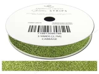 American Crafts Glitter Ribbon 3/8 in. x 3 yd. Solid Cabbage