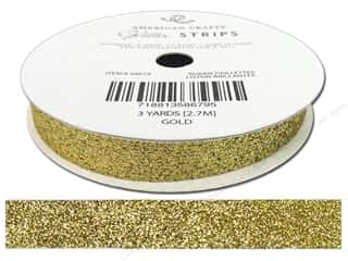 Ribbons Metallic Ribbon: American Crafts Glitter Ribbon 3/8 in. x 3 yd. Solid Gold