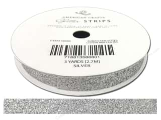 "American Crafts Ribbon Glitter 3/8"" Solid Silver 3yd"