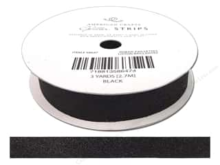 "American Crafts Ribbon Glitter 5/8"" Solid Black 3yd"