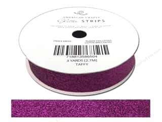 "American Crafts Ribbon Glitter 5/8"" Solid Taffy 3yd"