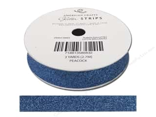 "American Crafts Ribbon Glitter 5/8"" Solid Peacock 3yd"
