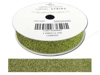 "American Crafts Ribbon Glitter 5/8"" Solid Cabbage 3yd"