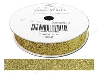 "American Crafts Ribbon Glitter 5/8"" Solid Gold 3yd"