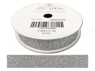 American Crafts Glitter Ribbon 5/8 in. x 3 yd. Solid Silver
