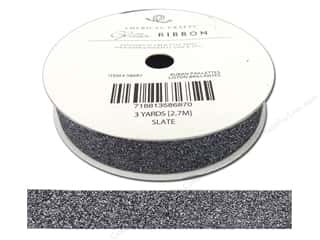 "American Crafts Ribbon Glitter 5/8"" Solid Slate 3yd"